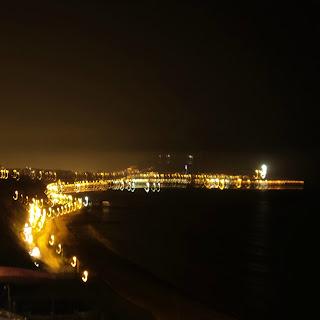 Vista Noturna, a Partir do Mirante do Shopping Larcomar, em Miraflores, Lima