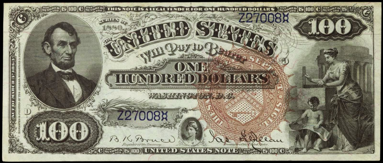 US currency 100 Dollar bill Legal Tender Note 1880, Abraham Lincoln