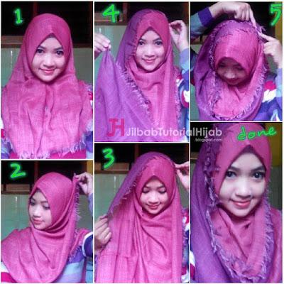 tutorial Cara memakai Hijab Segi Empat Sederhana Rawis Bolak Balik Terbaru
