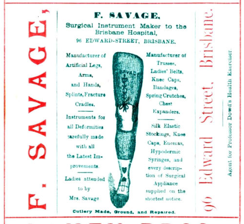 F Savage Surgical Instruments, Advertisement, 1892