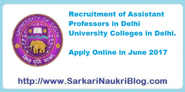 Assistant Professor vacancy in Delhi University Colleges