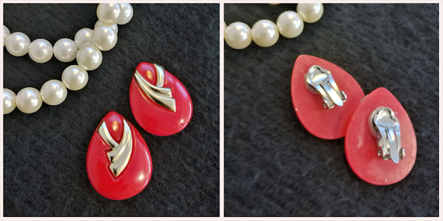 Red and gold vintage clip on earrings 1970's