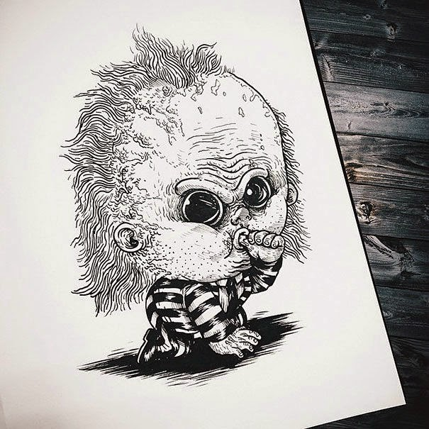 05-Beetlejuice-Alex-Solis-Baby-Terrors-Drawings-Horror-Movie-Villains-www-designstack-co