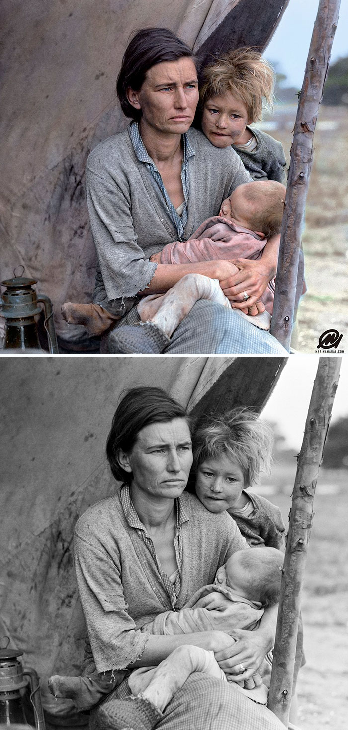 Digital Artist Colorizes The Last Heartbreaking Pictures Of A 14-Year-Old Polish Girl In Auschwitz - Migrant Mother