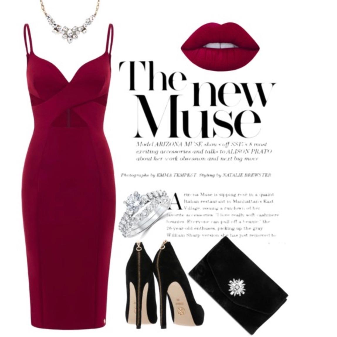 Simple Burgundy Midi Dress