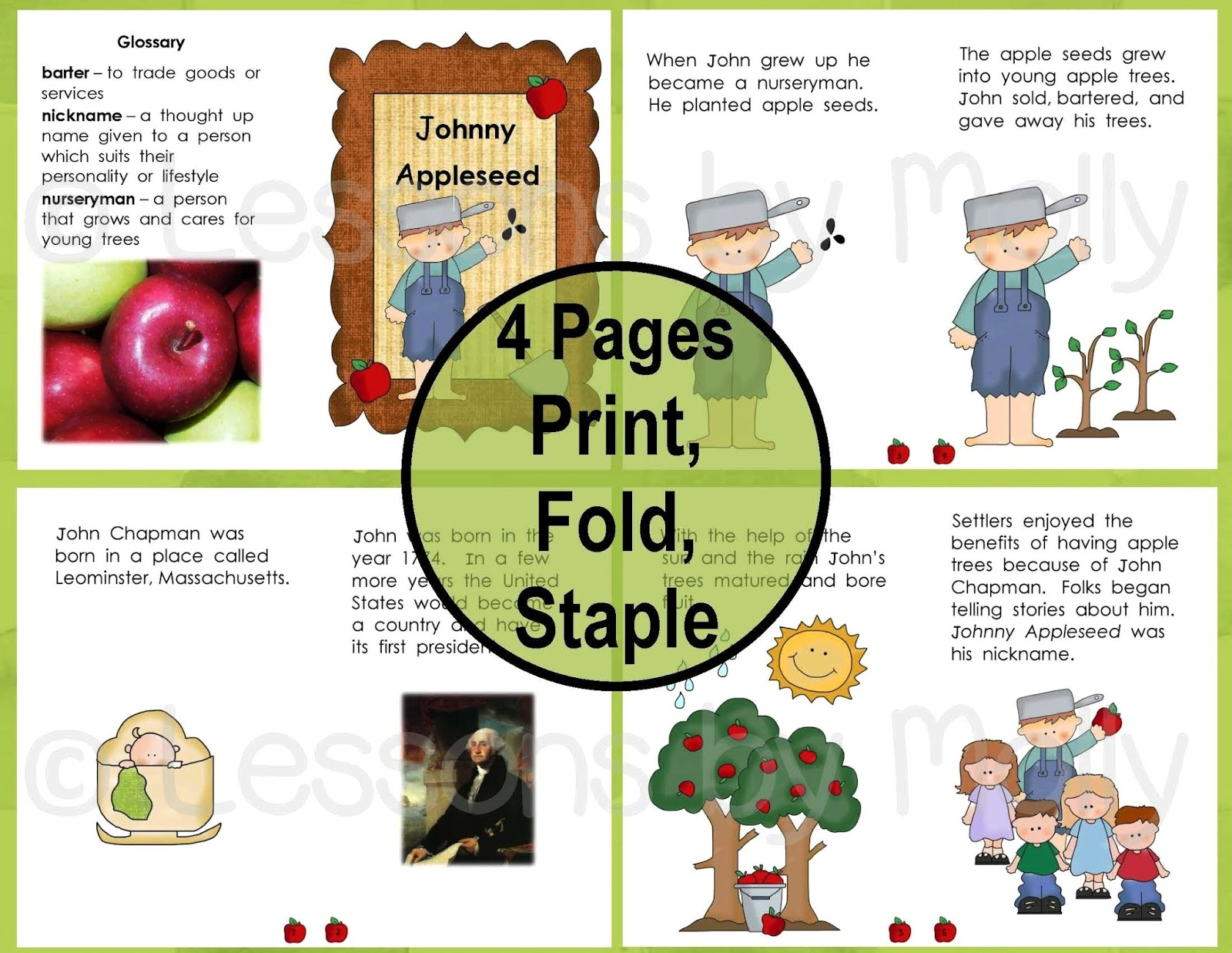 picture regarding Johnny Appleseed Printable Story named Classes via Molly: Johnny Appleseed
