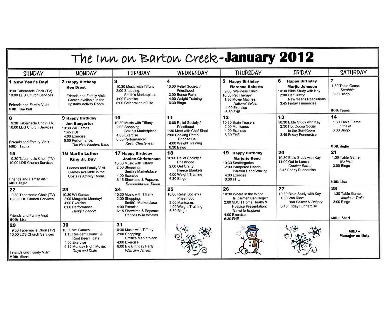 Barton Creek Assisted Living January Activities Calendar