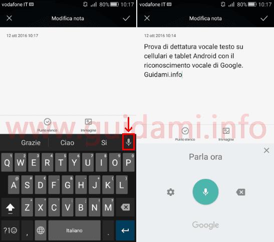 Android dettare testo a voce offline con digitazione vocale Google