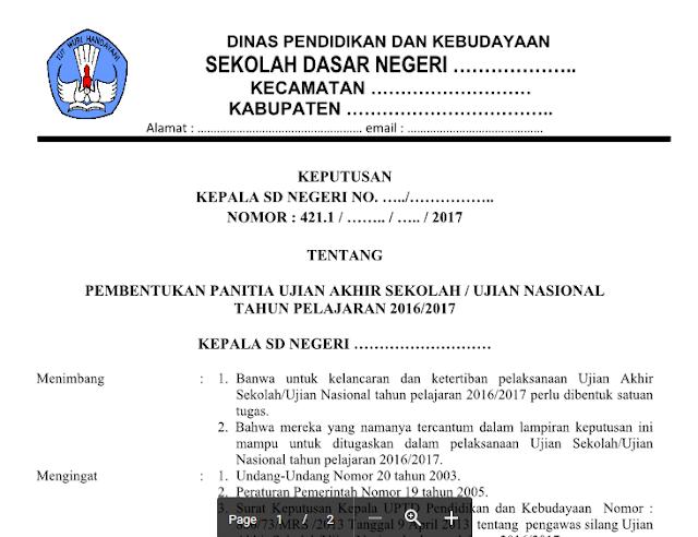 Format SK Panitia Ujian Sekolah (US/UN) SD/MI Tahun Ajar 2017/2018