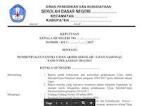 Contoh Format SK Panitia Ujian Sekolah (US/UN) SD/MI Tahun Ajar 2016/2017