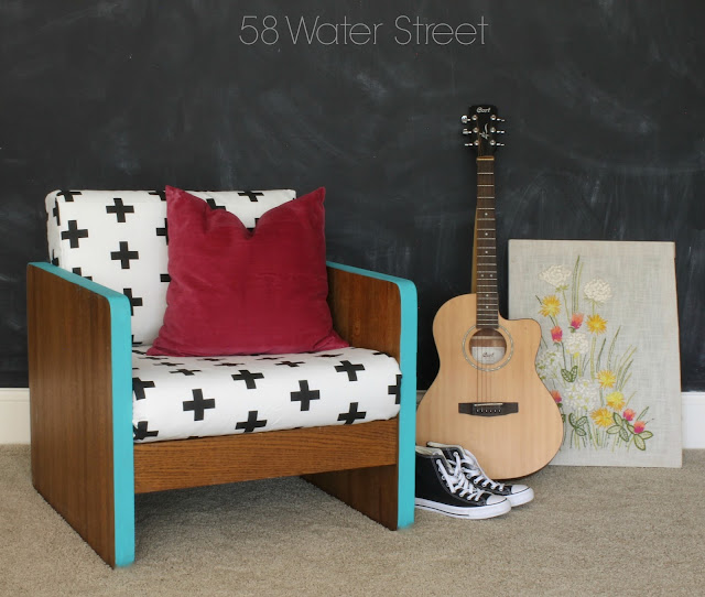 teen girl style, 58 Water Street: wood chair makeover with turquoise paint and modern fabric