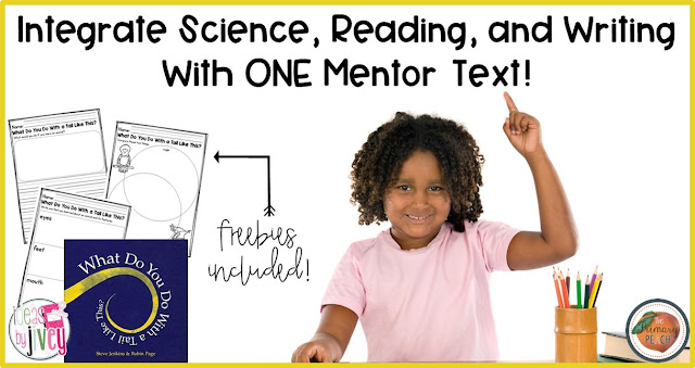 Ideas by Jivey shares through video and free activities how to use one book (What Do You Do With a Tail Like This? by Steve Jenkins) to teach science, reading, and writing standards in first and second grades! Using mentor texts can truly cover so many standards!
