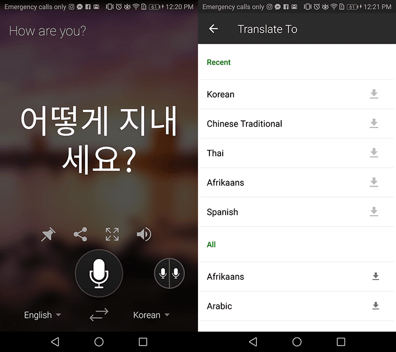 The built-in translator