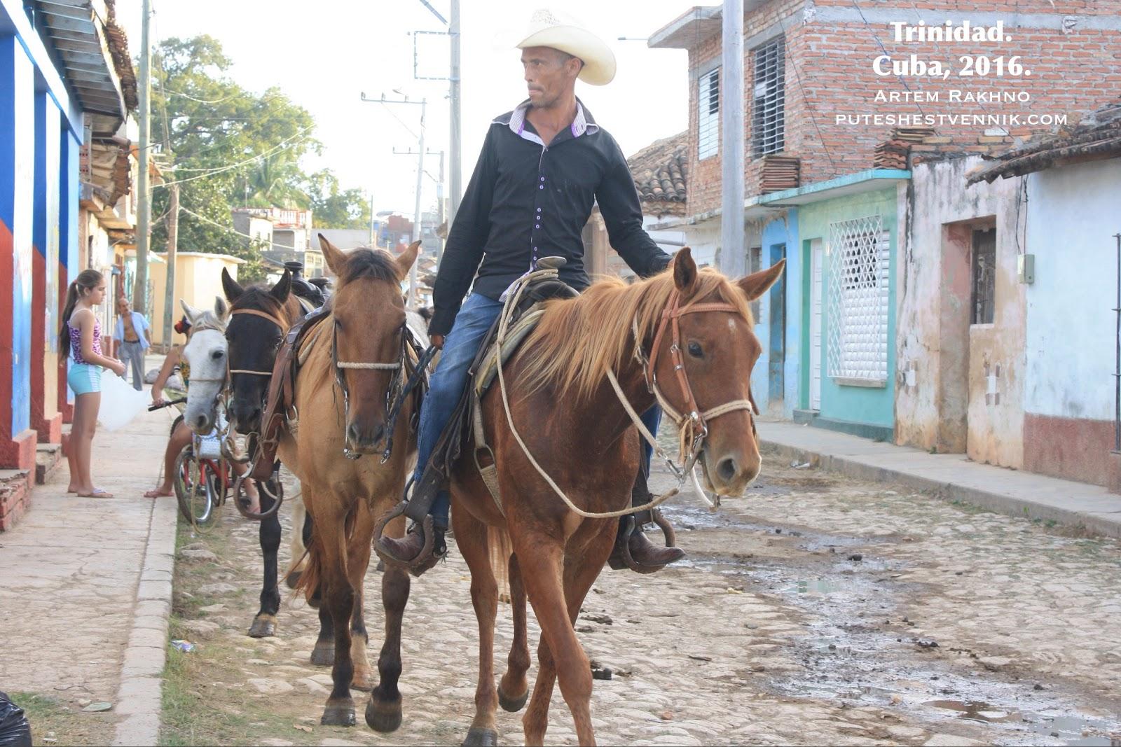 Кубинский ковбой с лошадями в Тринидаде