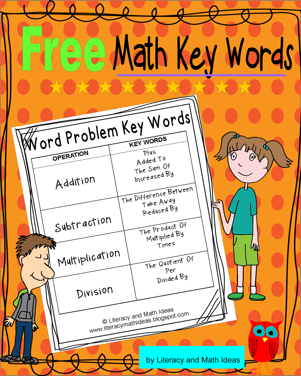 Literacy & Math Ideas: Math Operation Key Words