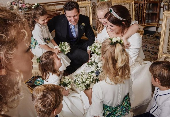 Princess Eugenie shared a photo showing the bridesmaids and page boys. Princess Charlotte of Cambridge and Prince George at royal wedding day