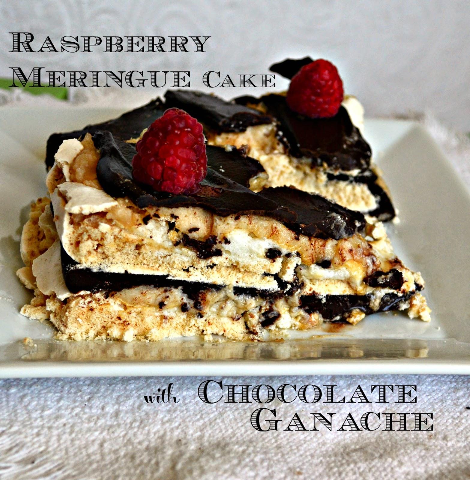 Easy Raspberry Meringue Cake with Chocolate Ganache - This
