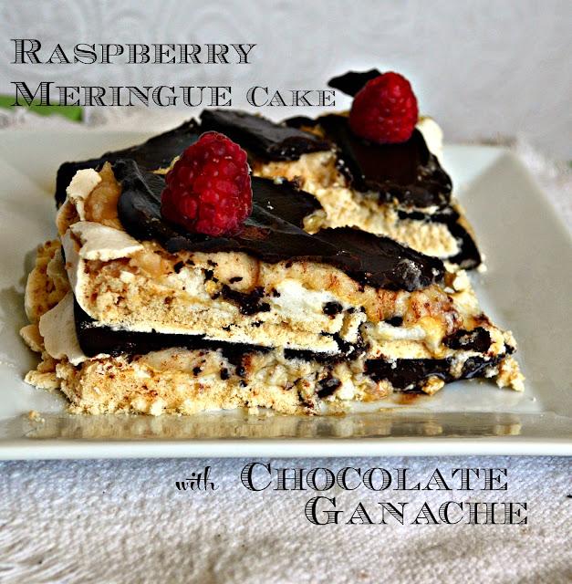 Raspberry Meringue Cake with Dark Chocolate