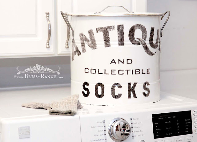 Thrift Store Decor Metal Stenciled Sock Bin, Bliss-Ranch.com