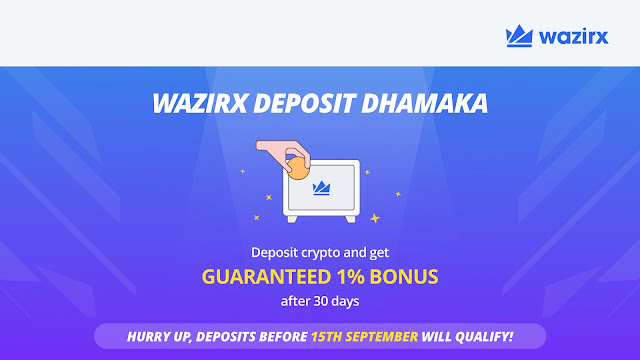 WazirX- Earn 1% bonus on every crypto deposit Inbox