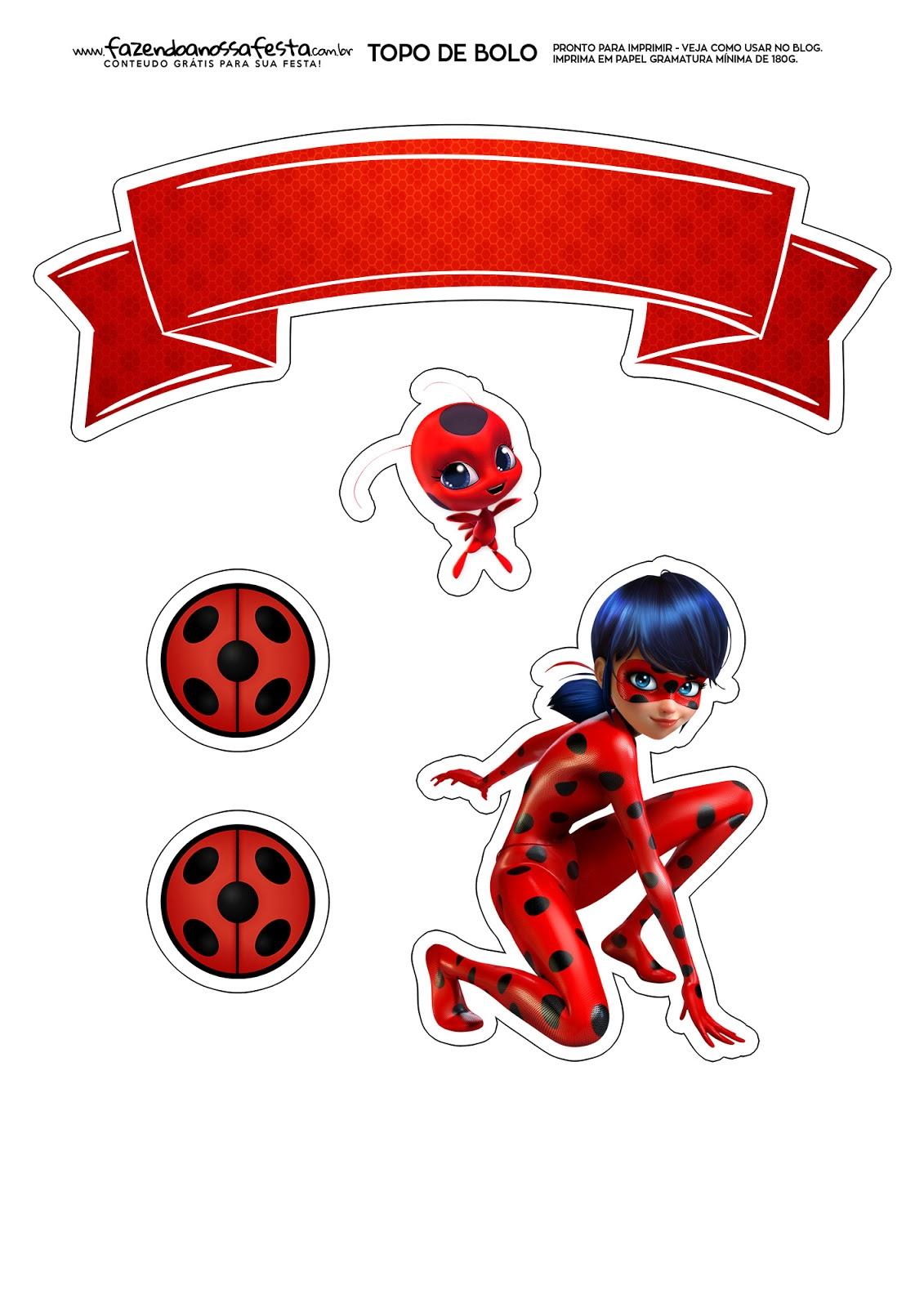 photograph about Ladybug Printable called MIraculous Ladybug: Free of charge Printable Cake Toppers. - Oh My