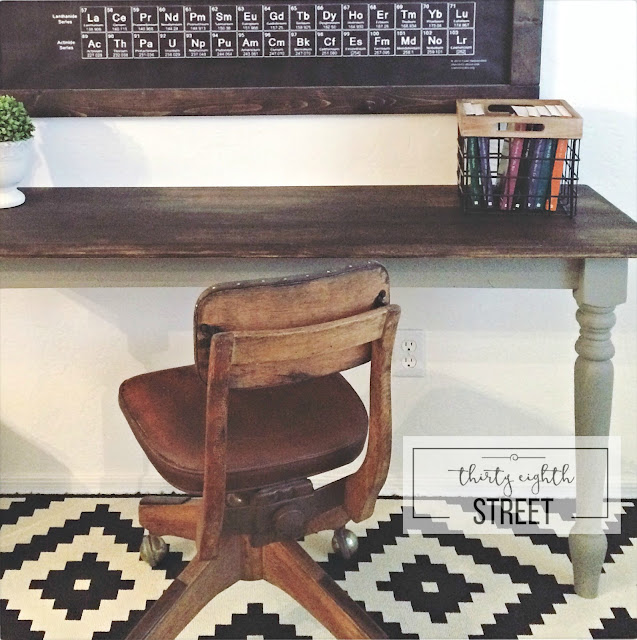 repurpose a table into a desk, chalk style paint in empire gray, general finishes stain, how to paint a table, how to paint a desk