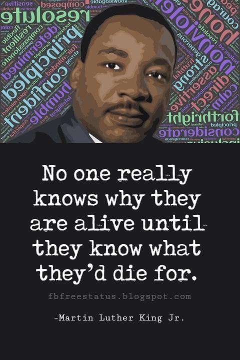 Quotes by Martin Luther King jr, No one really knows why they are alive until they know what they'd die for.