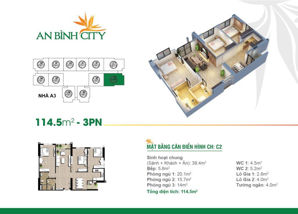 Căn hộ diện tích 114 m2 tại chung cư An Bình City
