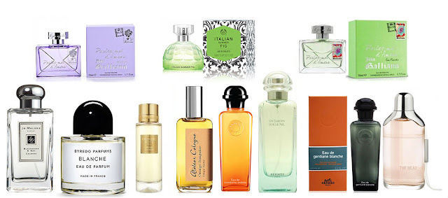 Byredo, Jo Malone, Atelier Cologne, PREMIERE NOTE Orange Calabria, Hermes, Burberry, John Galliano, The Body Shop Italian Summer Fig EDT