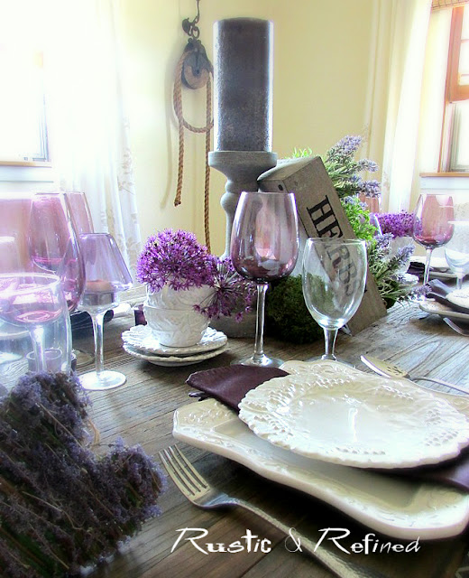 rustic tablescape using purple for Spring