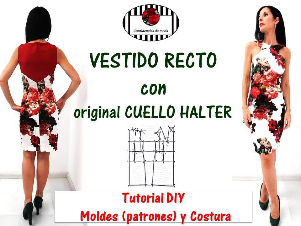 df2d435f9 DIY. Cómo hacer un vestido recto con original cuello halter