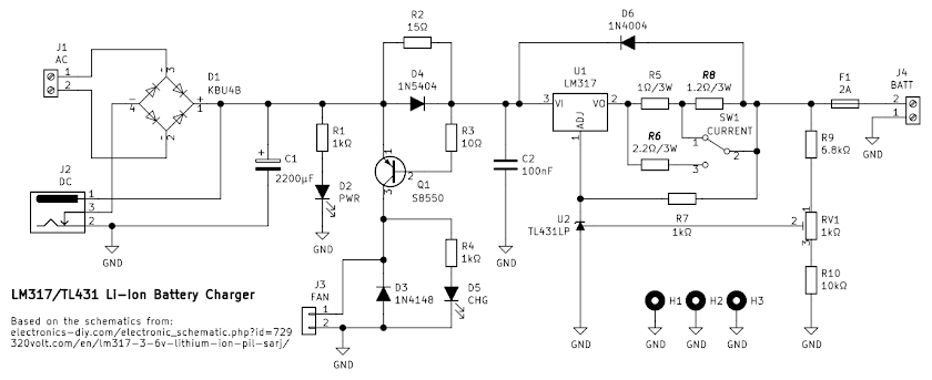 Schematic of LM317/LM338 Li-Ion charger
