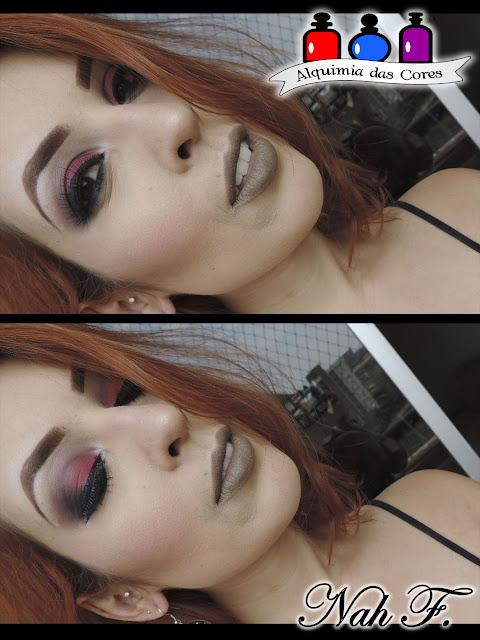 maquiagem vermelha, Vermelho, catherine hill, mais vaidosa, bitarra, Narjara Ferreira, maquiagem vermelha e preto