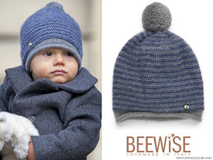 Prince Oscar wore Beewise hat reverse grey and blue