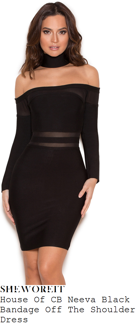 jorgie-porter-house-of-cb-neeva-black-off-the-shoulder-mesh-stripe-long-sleeve-bodycon-bandage-dress