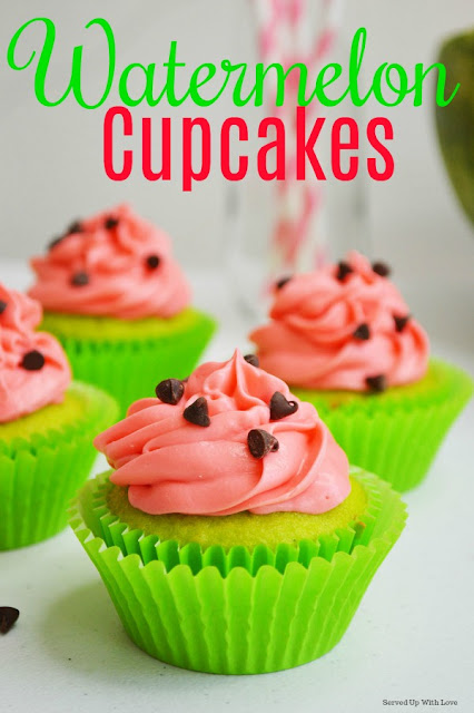 Super fun and festive Watermelon Cupcakes recipe at Served Up With Love to celebrate all things summer.