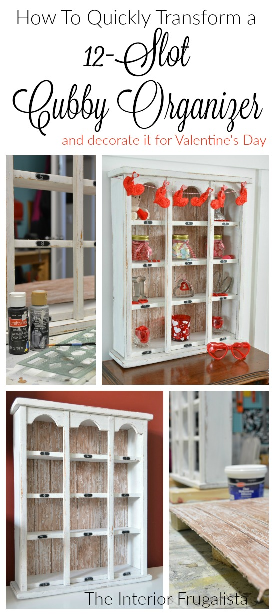 A 12-slot vintage cubby upcycled with barnwood scrapbook paper in farmhouse style and decorated for Valentine's Day with dollar store finds. #vintagecubby #farmhousestyle #cubbyorganizer #vintagevalentine