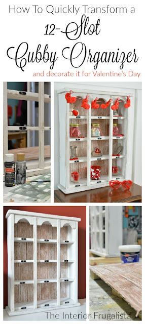 12 Slot Wooden Cubby Organizer Makeover