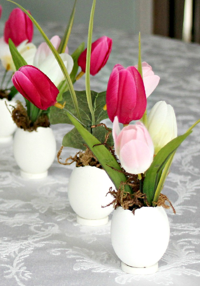 Springtime Easter Flowers In Eggshell Pots Grateful Prayer