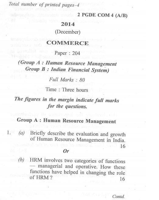 Dibrugarh University M Com HRM and IFS 2014 Question Paper