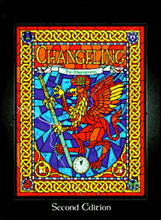 The Changeling: the Dreaming main rule book, with the cover art representing a stained glass window of a gryphon holding a sword.