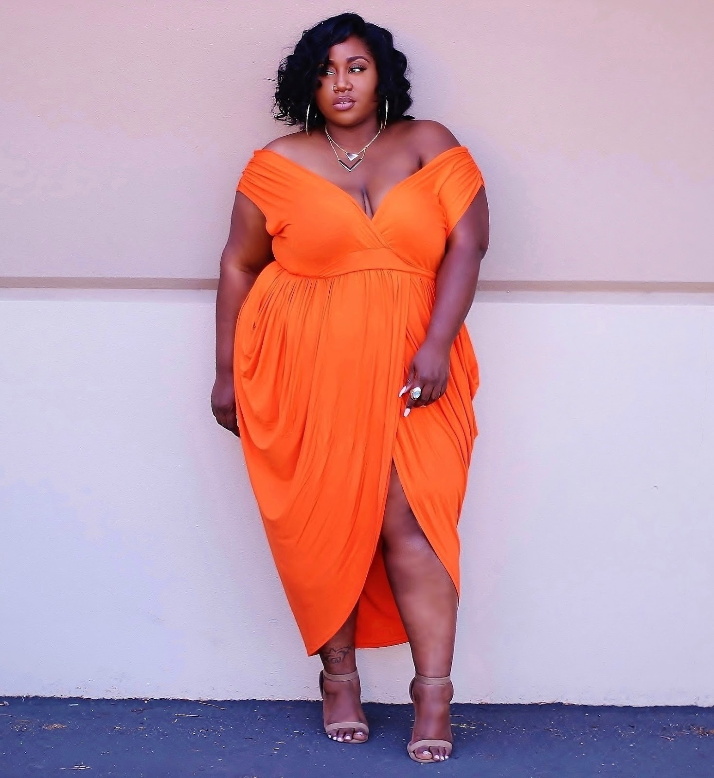 Plus Size Orange Dress