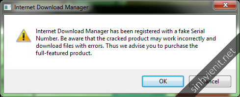 Internet Download Manager has been registered with a fake Serial Number.