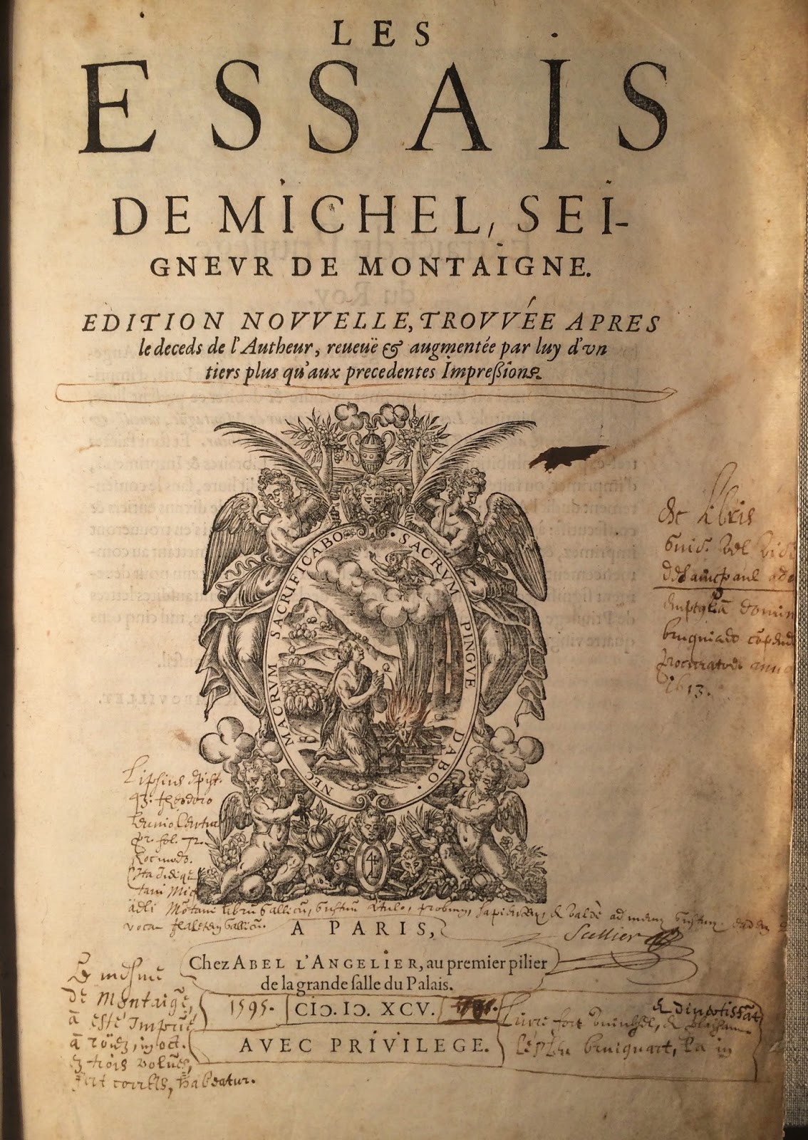 "A title page for ""Les Essais"" with handwritten annotations."