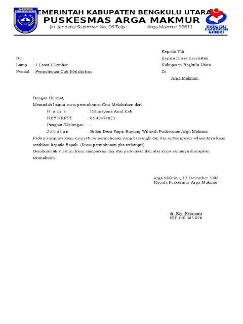 Contoh Surat Cuti Melahirkan Lengkap Untuk Pegawai Negeri