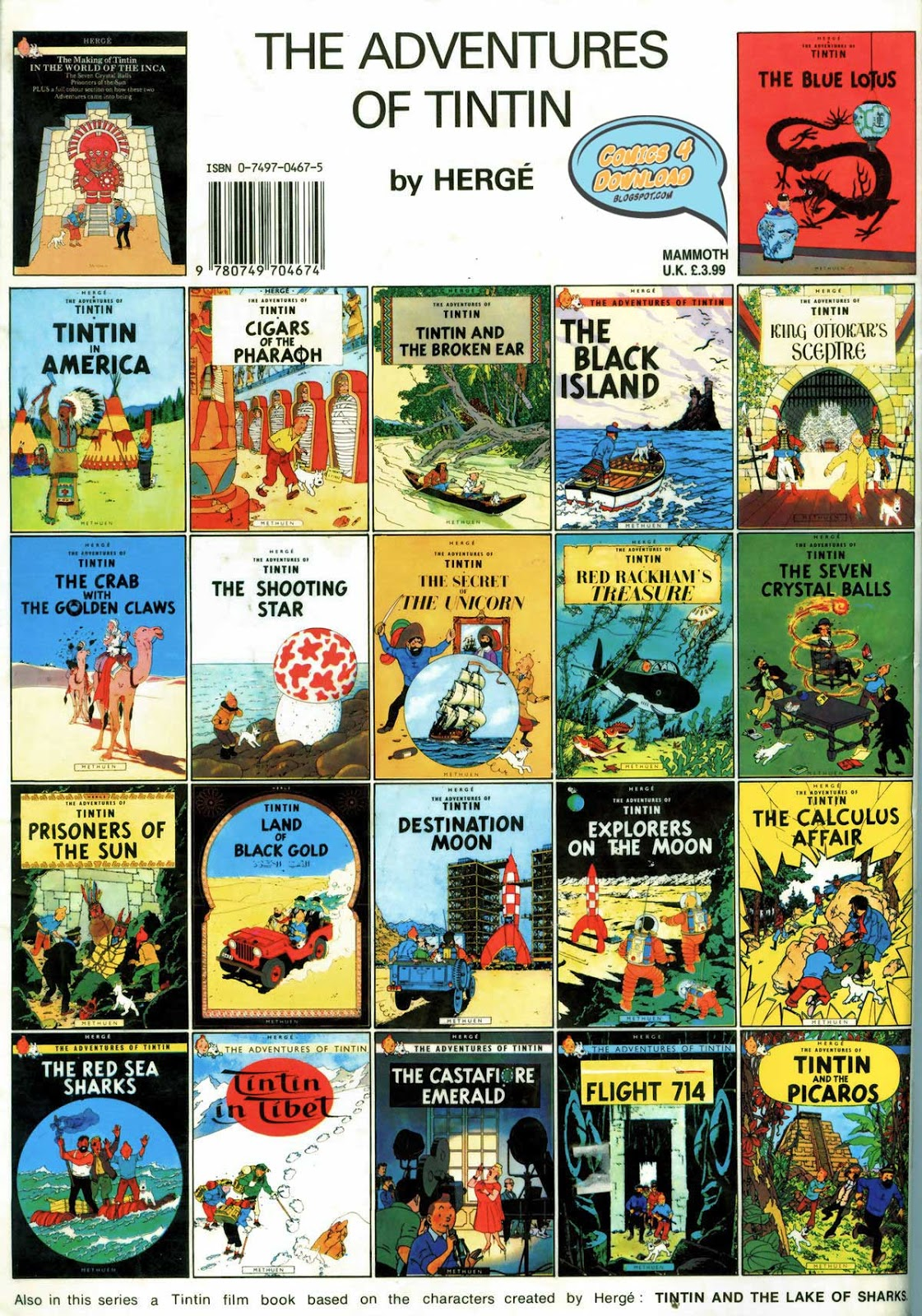 comics 4 download: the adventures of tintin comic books (complete)