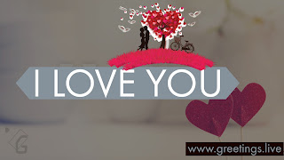 I love you two lovers one love tree and bicycle,  Two love symbols.
