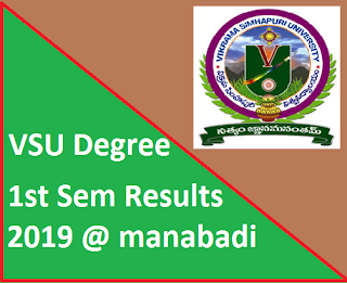 Manabadi VSU Degree 1st Sem Results 2019