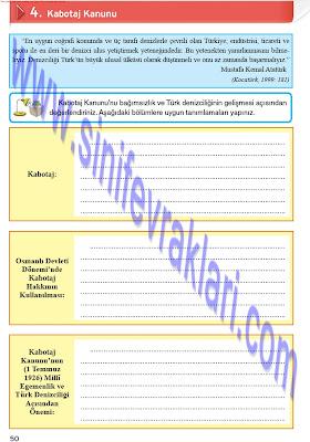 Top Yayınları 8. Sınıf İnkılap Tarihi Çalışma Kitabı Cevapları Sayfa 50