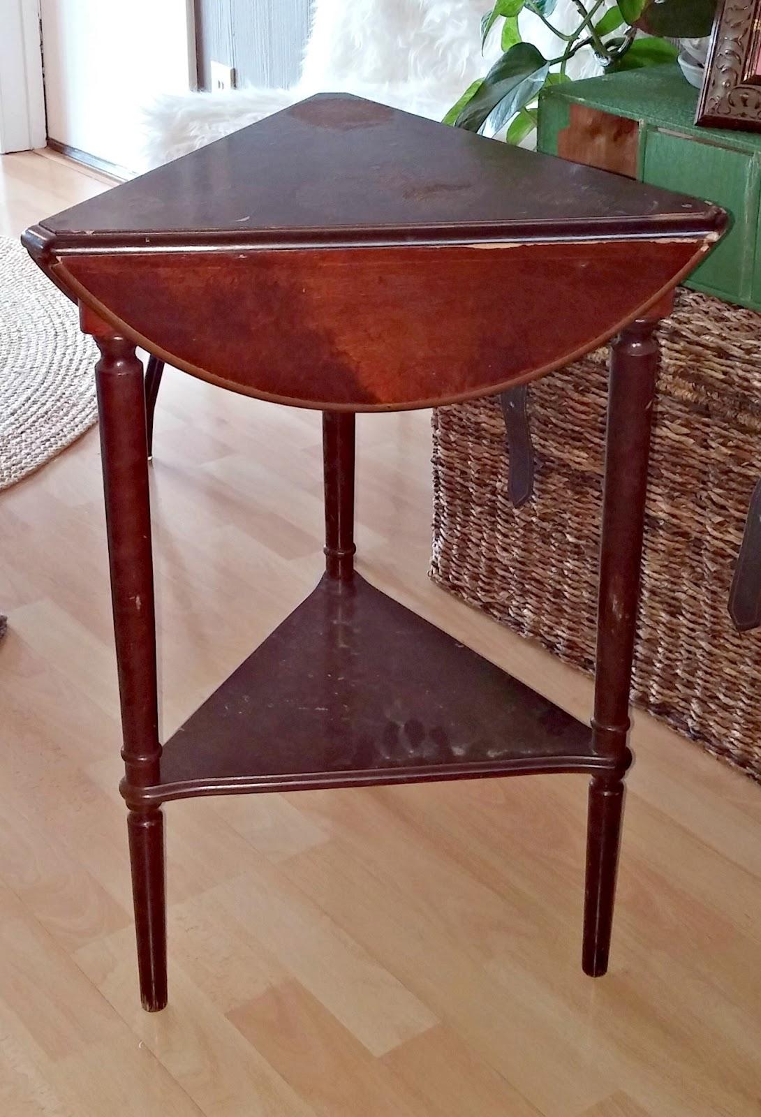 Triangle Side Table Makeover - Little Vintage Cottage